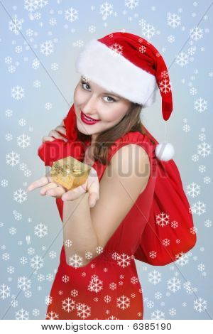 Happy Santa Girl With Gift Box On Xmas Background