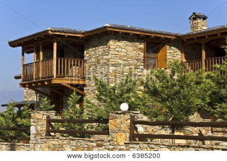 Old stone traditional countryside house at Agkistro, Greece, Macedonia province