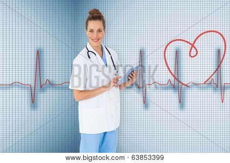 Pretty nurse using tablet pc against medical background with red ecg line