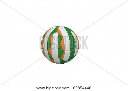 Football in ivory coast colours on white background