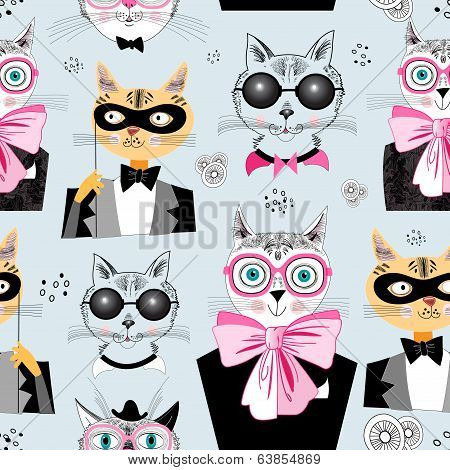 Pattern Cats Hipsters