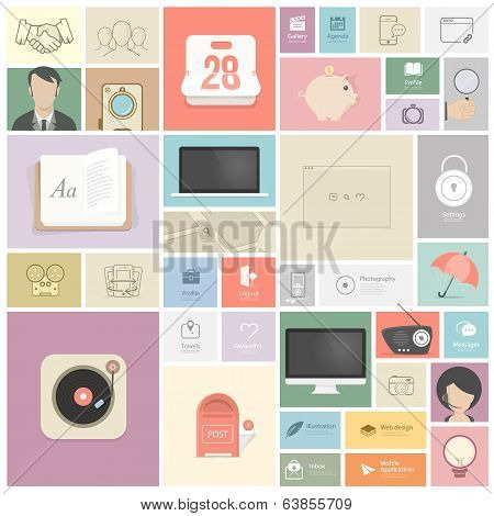 Flat vintage infographics elements with icons for website, mobile and print templates