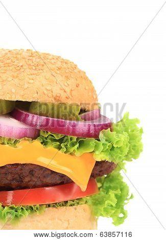 Big appetizing hamburger. Close up.