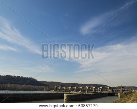 Lock and Dam with Blue Sky