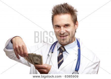 Young Happy Male Doctor Counting Money