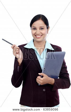 Young Business Woman With Tablet And Stylus