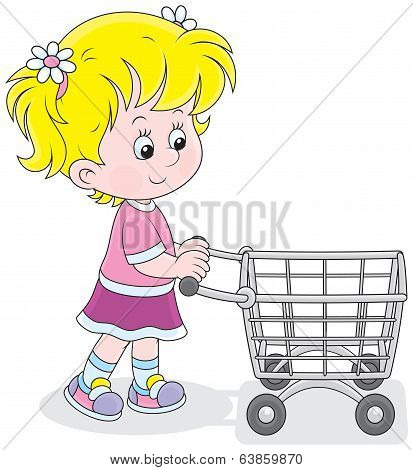 Girl with a shopping trolley