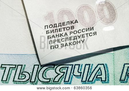 One thousand Russian banknotes