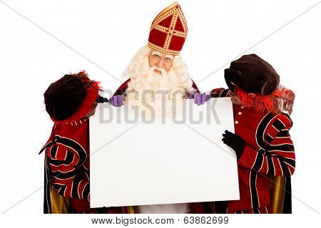 Sinterklaas and zwarte pieten with placard. isolated on white background. Dutch character of Santa Claus