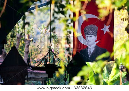 Mustafa Kemal Ataturk On Turkish Flag