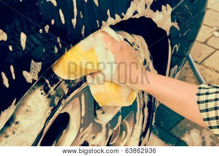 washing a car by hand