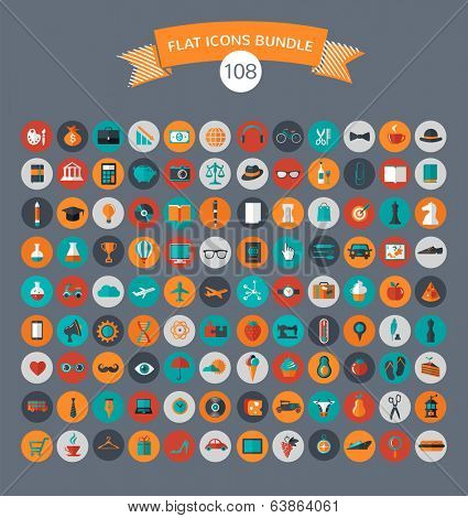 Huge collection of flat vector icons with modern colors of travel, marketing,  hipster ,science, edu poster