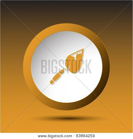 Trowel. Plastic button. Vector illustration.