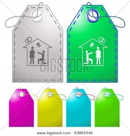 Home affiance. Vector tags.