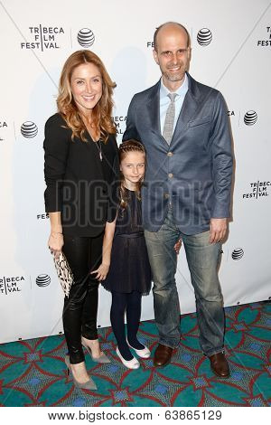 NEW YORK-APR 21: (L-R) Actress Sasha Alexander, daughter Lucia and husband Edoardo Ponti attend the Shorts Program: Soul Survivors at AMC Loews Village 7 on April 21, 2014 in New York City.