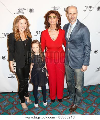 NEW YORK-APR 21: (L-R) Sasha Alexander, daughter Lucia, Sophia Loren and director Edoardo Ponti attend the Shorts Program: Soul Survivors at AMC Loews Village 7 on April 21, 2014 in New York City.