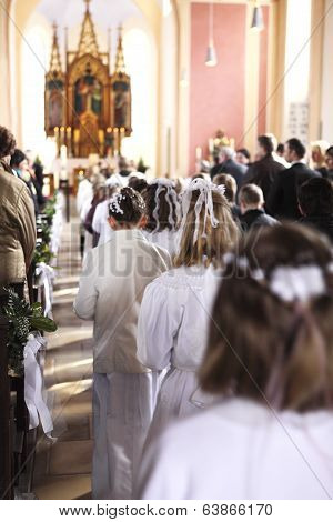 Communion Children Move Into Church