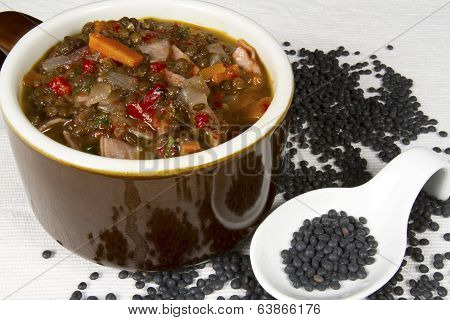Beluga Lentil Soup in Crockery