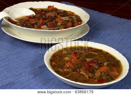 Beluga Lentil Soup in White Bowls