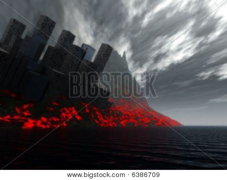 Destruction Of City By Lava