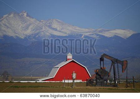 Red Barn, Oil Well in front of Longs Peak
