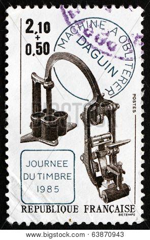 Postage Stamp France 1985 Canceling Apparatus By Eugene Daguin