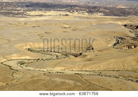 Ramon Crater Landscape In Negev Desert.