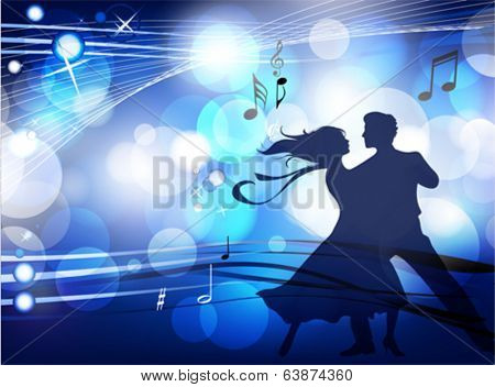 Ballroom dancers. This illustration is an EPS10 file and contains several transparencies blend, its easily editable in separate layers. Vector illustration scale to any size.