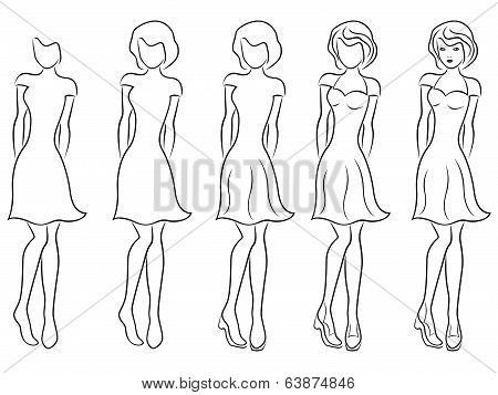 Beautiful Women Contour In Drawing Sequence