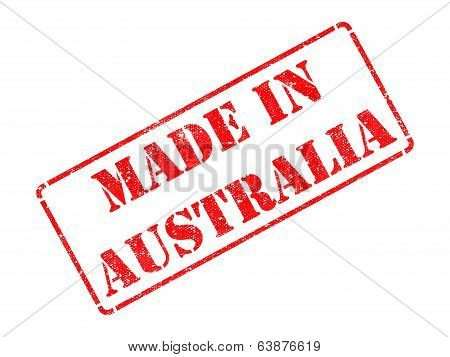 Made in Australia - inscription on Red Rubber Stamp.