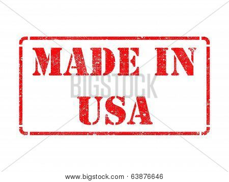 Made in USA - inscription on Red Rubber Stamp.
