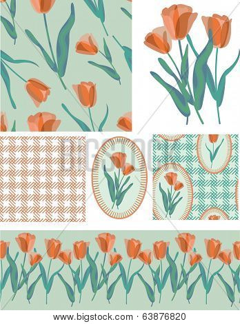 Pretty Tulip Vector Seamless Patterns and Elements. Use as fills, digital paper, or print off onto fabric to create unique items.