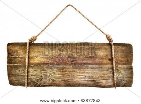Wooden sign hanging on a rope on white background