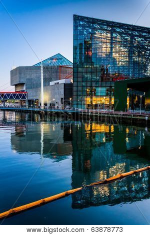 The National Aquarium At Twilight, At The Inner Harbor In Baltimore, Maryland.