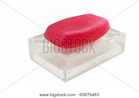 Classic Red Soap On A Semi Transparent Soap Dish