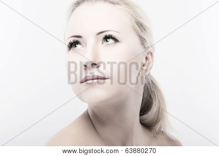 Beauty Portrait Of Brighten Blond Woman On White Background