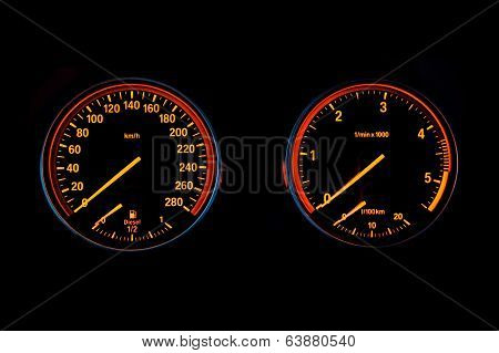 Speedometer And Tachometer Of A Sport Car