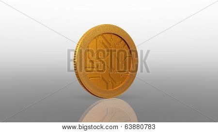 Digital Currency Gold Coin White  45 Degree