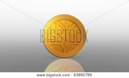 Digital Currency Gold Coin White