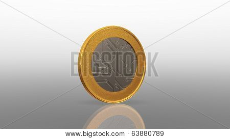 Digital Currency Mix Silver Gold Coin 45 Degree