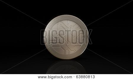 Digital Currency Silver Coin Dark