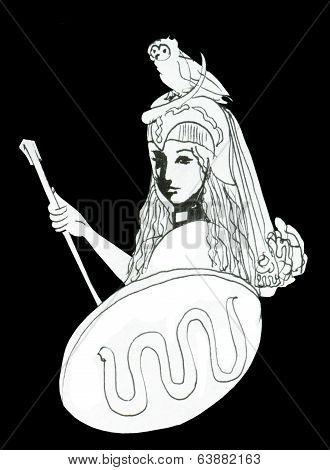 Pallas Athena Ink Drawing With Attributes