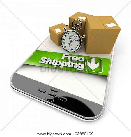 3D rendering of a purchase from a tablet with a free shipping