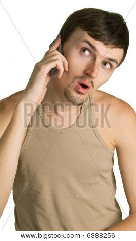 Shocked Man With Cellular