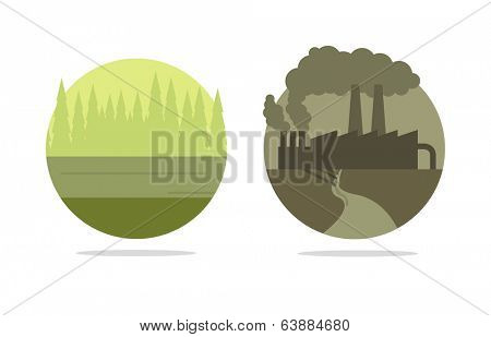 Vector ecology concept, polluted city vs green forest
