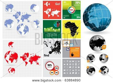 Big set of World map, vector