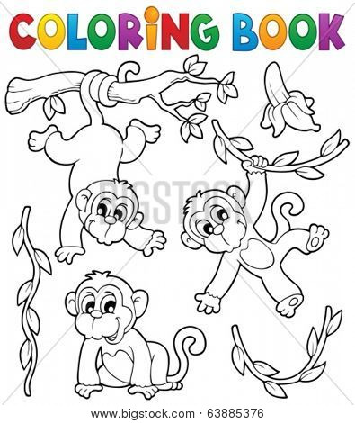 Coloring book monkey theme 1 - eps10 vector illustration.