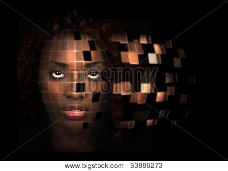 Futuristic portrait of a beautiful African American woman