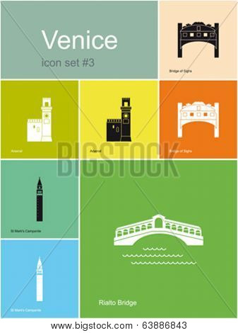 Landmarks of Venice. Set of flat color icons in Metro style. Editable vector illustration.