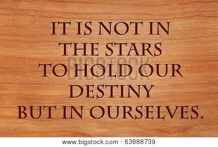 It is not in the stars to hold our destiny but in ourselves - quote by William Shakespeare on wooden red oak background